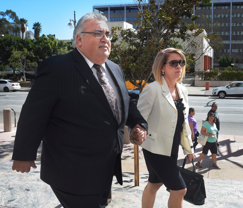 Senator Ron Calderon with his wife Ana, arrived at United States Courthouse in downtown Los Angeles where he will be sentenced in a federal corruption case Friday, October 21, 2016. Photo by Walt Mancini/Pasadena Star-News/SCNG