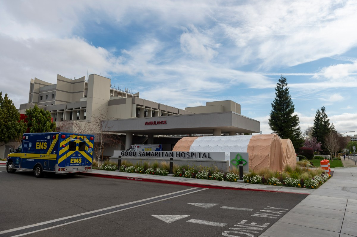 Surge tents are set up in front of the Good Samaritan Hospital in San Jose, California, United States on March 6, 2020. The tents were brought in just in case there is a possible surge in novel coronavirus (COVID-19) cases.