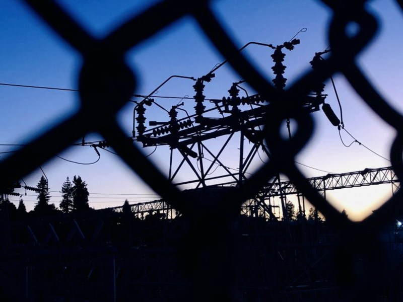 PG&E's Oakland K substation is silhouetted at sunset in the hills of Oakland, Calif., on Wednesday, October 9, 2019. PG&E was supposed to shut off power at noon in the Oakland hills, but at 8:45 PM it was still on. Photo by Jane Tyska, Bay Area News Group