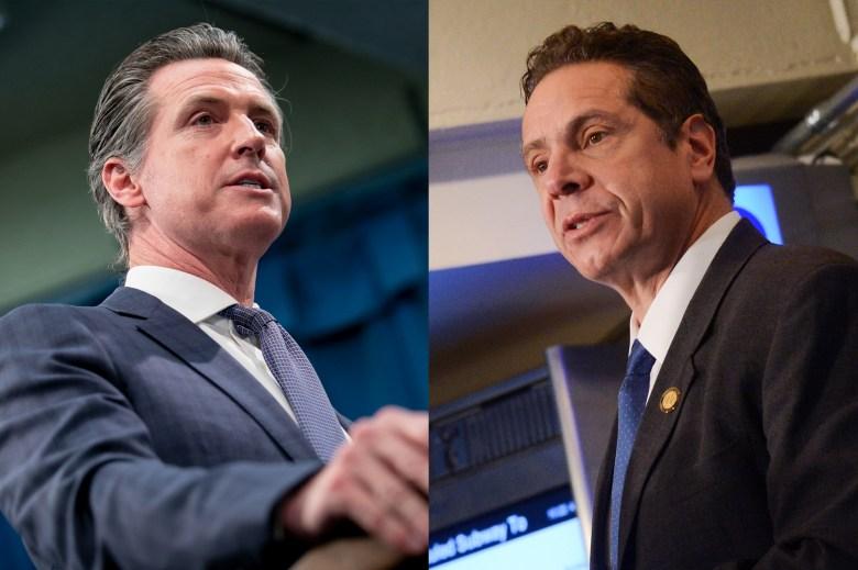 Left: California Gov. Gavin Newsom, right: New York Gov. Andrew Cuomo