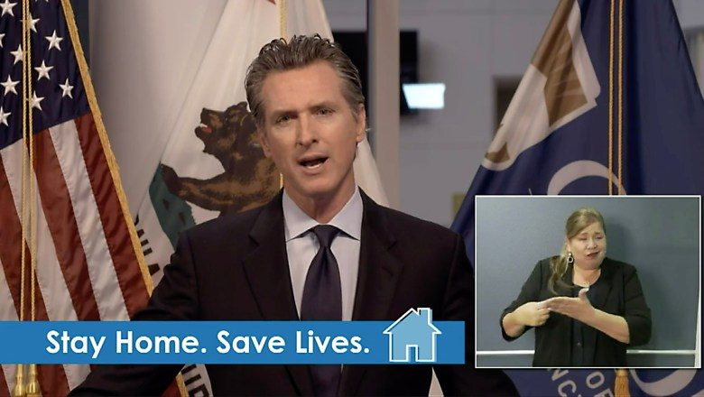 Screen shot of Gov. Gavin Newsom giving an update on COVID-19 pandemic over facebook live on March 24, 2020.