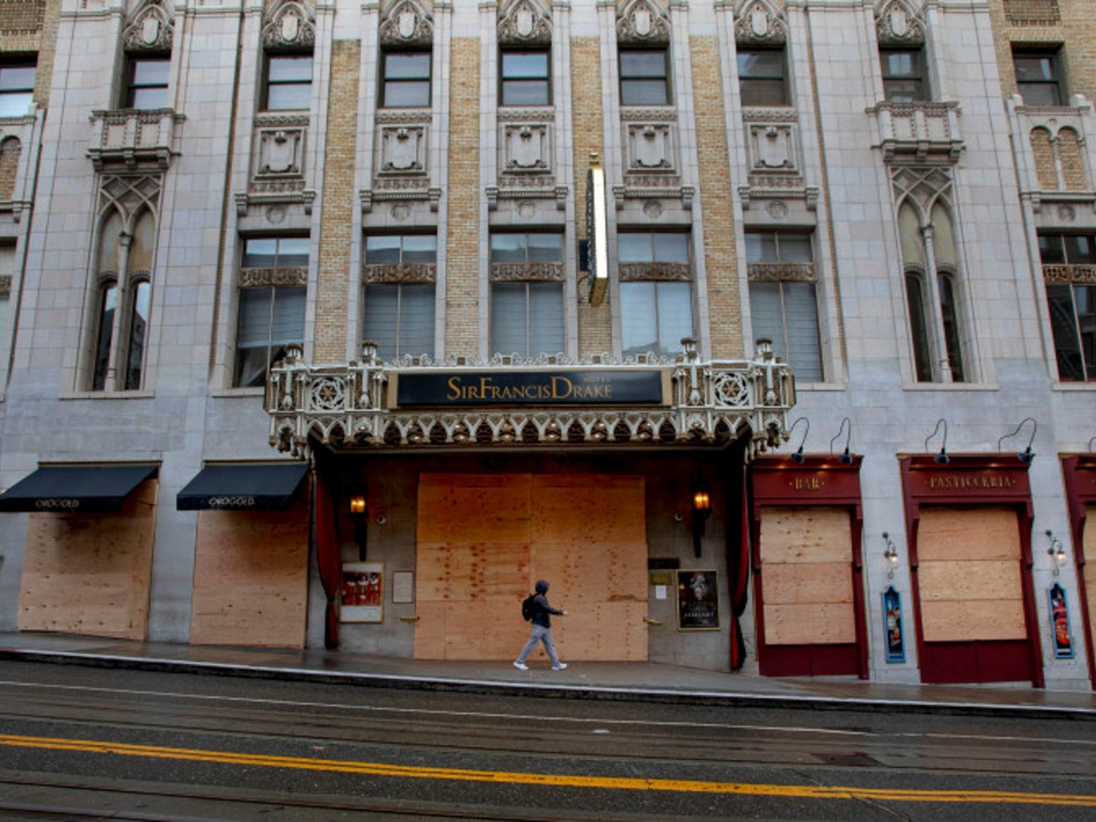 The Sir Francis Drake Hotel in San Francisco's Union Square boarded up on Tuesday, March 24, 2020.
