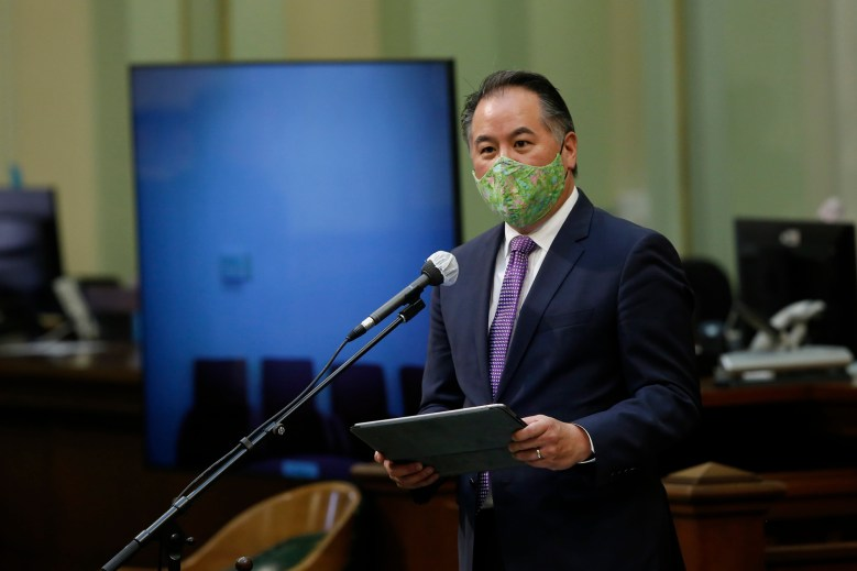 "Assemblymember Phil Ting, chair of the Assembly Budget Committee, wears a face mask as he addresses lawmakers at the Capitol on May 26, 2020. The Assembly met as a ""Committee of the Whole on the State Budget, to question Gov. Gavin Newsom's administration about its plan to fill an estimated $54.3 budget deficit created by the effects of the coronavirus. Photo by Rich Pedroncelli, AP Photo/Pool"
