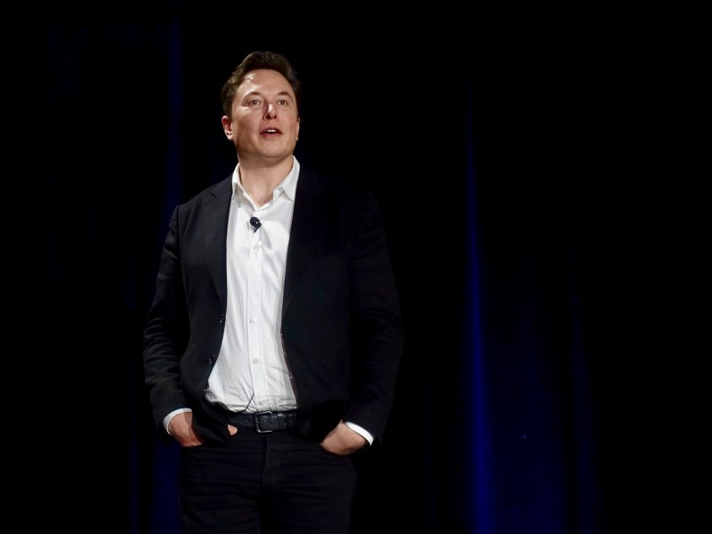 Elon Musk gives a presentation on fully-autonomous vehicles on April 22, 2019. Photo by Steve Jurvetson via Flickr