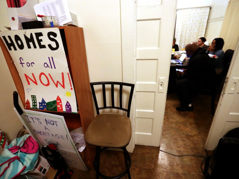 Moms 4 Housing founder Dominique Walker and others talk in the dining room of a vacant house in West Oakland on January 13, 2020. Members of the group have been illegally occupying a vacant home since November to bring attention to affordable housing issues. Photo by Jane Tyska, Bay Area News Group