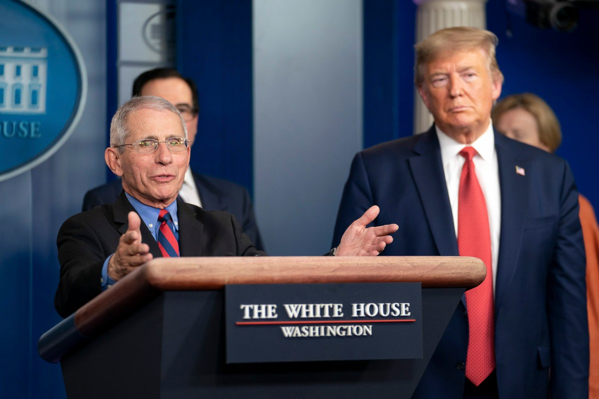 Dr. Anthony S. Fauci, director of the National Institute of Allergy and Infectious Diseases, and a member of the White House Coronavirus Task Force, responds to a reporter's question at a coronavirus update briefing March 25, 2020, in the James S. Brady Press Briefing Room of the White House. Photo by Tia Dufour, Official White House Photo via Flickr
