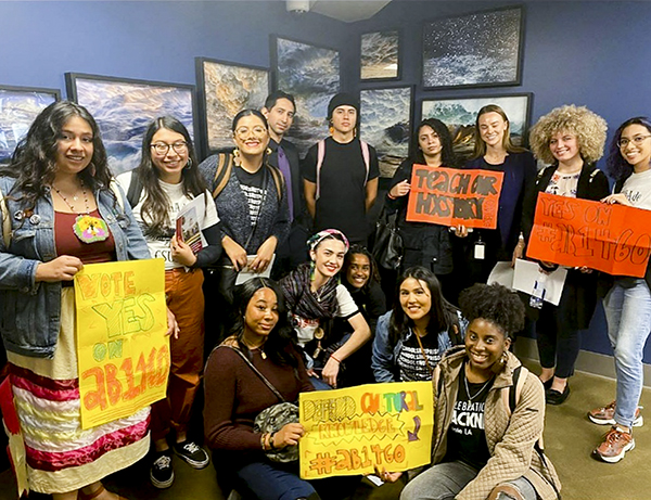 A group of students studying various disciplines of ethnic studies at Cal State campuses visit the Capitol to lobby for legislation to require such classes as a condition for graduation. Photo courtesy of Raven Freebird