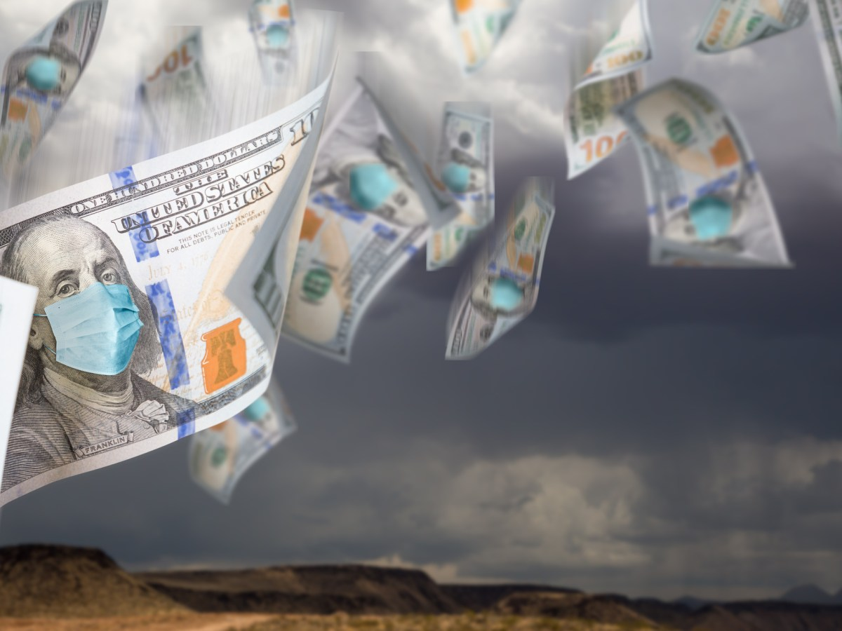Floating hundred dollar bills with Benjamin Franklin depicted in masks. California has a new state spending plan that bears the imprint of the coronavirus pandemic.Image via iStock