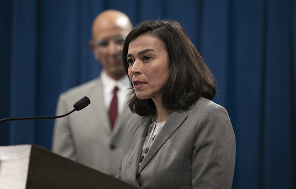 Dr. Sonia Angell, Director of California Department of Public Health, at a press conference in the state capitol following the first COVID-19 death in California on March 4, 2020. Angell has just announced that she is resigning from her post. Photo by Anne Wernikoff for CalMatters