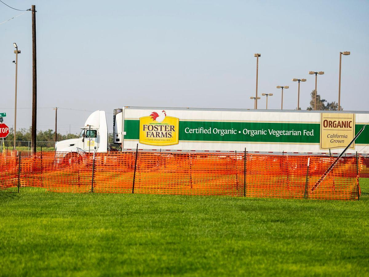 Vehicles including Foster Farms trucks enter and exit the Foster Farms facility located at 1000 Davis Street in Livingston, on Thursday, Aug. 27, 2020. Photo by Andrew Kuhn, Merced Sun-Star