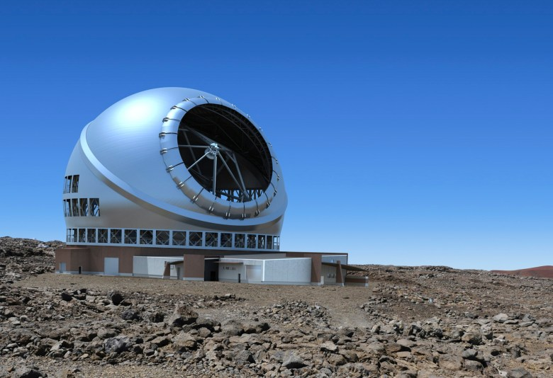 Artist rending of the TMT Observatory on the Maunakea site. Image courtesy of TMT International Observatory