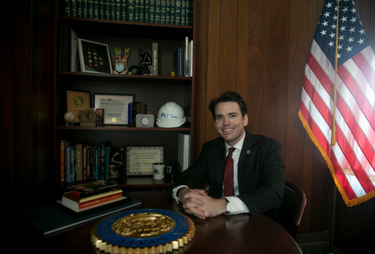 Assemblymember Kevin Kiley sits for a portrait in his office in the California Capitol on Aug. 28, 2020. Photo by Anne Wernikoff for CalMatters