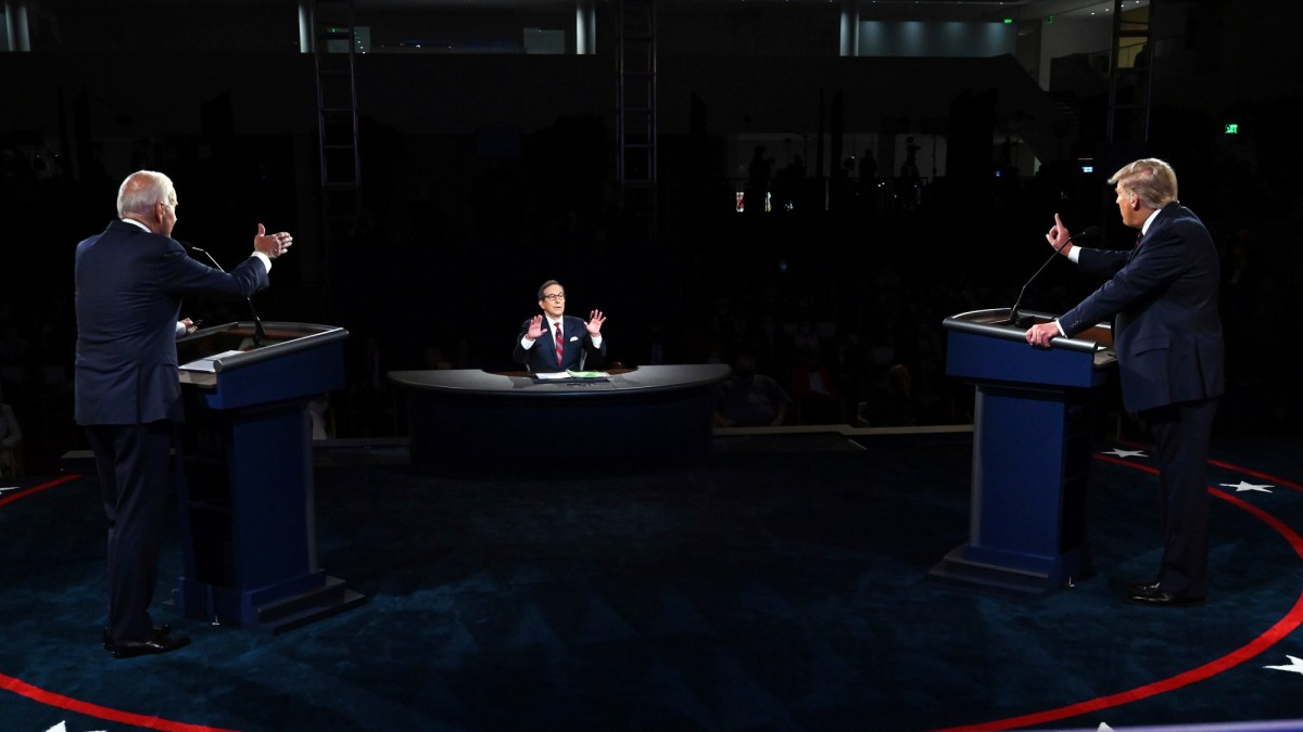 President Donald Trump and Democratic presidential candidate former Vice President Joe Biden clashed over California wildfires and climate-altering emissions in the first presidential debate Sept. 29. Photo by Olivier Douliery, Pool via AP