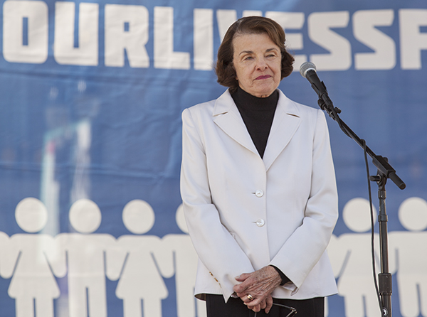 U.S. Sen. Dianne Feinstein speaks at the March For Our Lives rally in San Francisco on March 24, 2018. Photo by Pax Ahimsa Gethen via Wikimedia Commons (CC BY-SA 4.0)