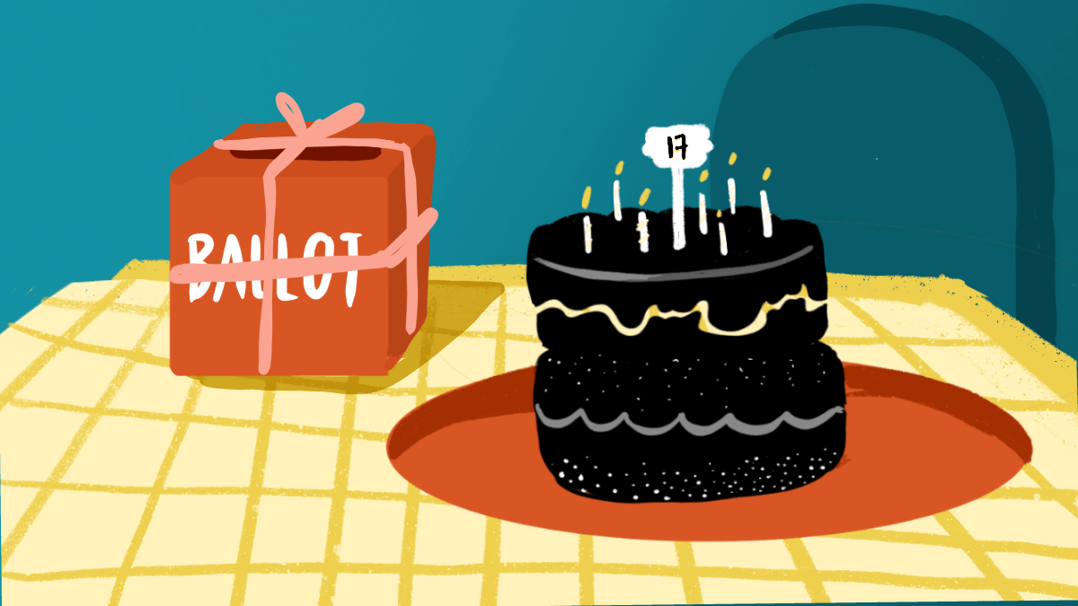 A birthday cake alongside a ballot box. CalMatters' video playlist allows voters to get up-to-speed on the dozen propositions on the November ballot in no time flat. Illustration by Rita Liu