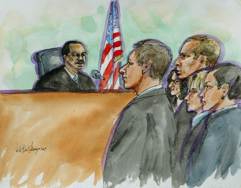 Artist sketch showing Judge Martin Jenkins with former Enron trader Timothy Belden, third from right, in Federal Court in San Francisco, Thursday, Oct. 17, 2002. Image by Vicki Behringer via AP Photo