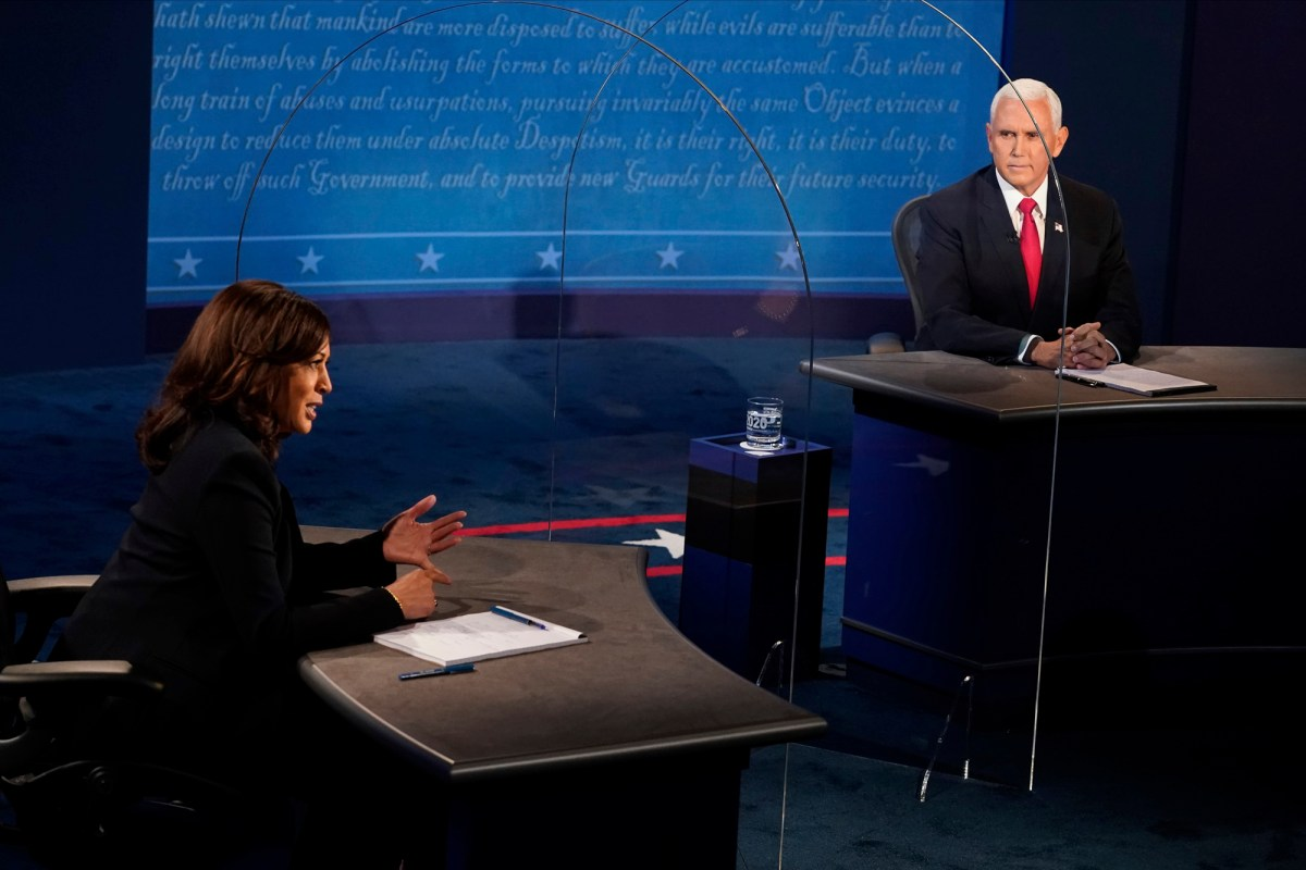 Vice President Mike Pence looks at Democratic vice presidential candidate Sen. Kamala Harris as she answers a question during the vice presidential debate Oct. 7, 2020, at the University of Utah in Salt Lake City. Photo by AP Morry Gash, AP Photo/Pool