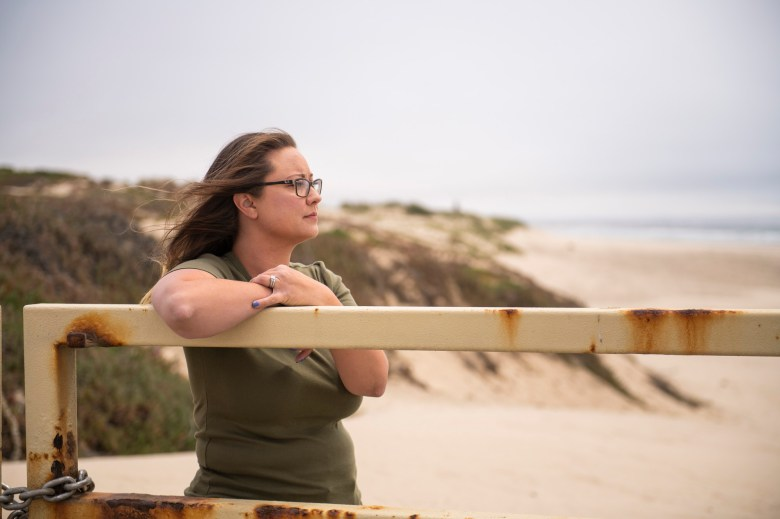 Lyndi Love-Haning says sand in the air is part of living near the beach and isn't concerned by it. Photo by Brittany App for CalMatters