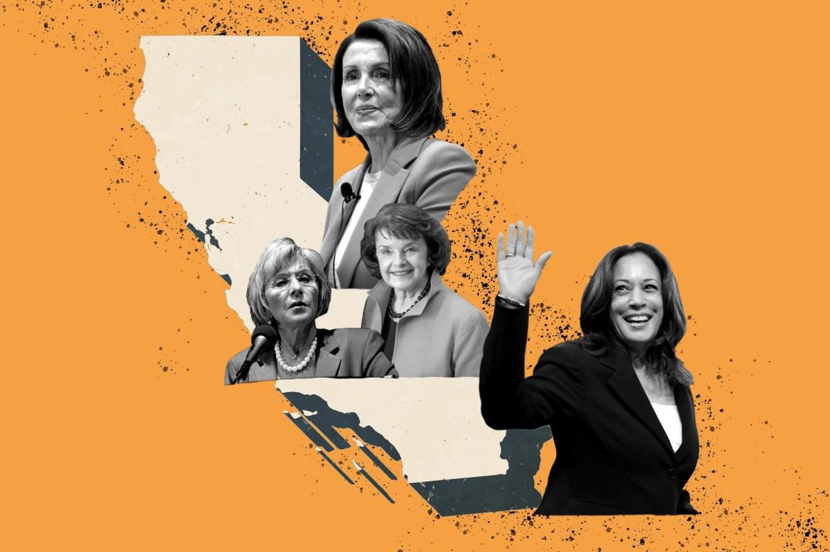 La primera vicepresidenta electa y Portavoz de la Casa provienen de California, un estado que también fue el primero en estar representado por dos senadoras estadounidenses. Ilustración de Anne Wernikoff para CalMatters. iStock, Gage Skidmore a través de Flickr; Oficina de Eric Garcetti a través de Flickr