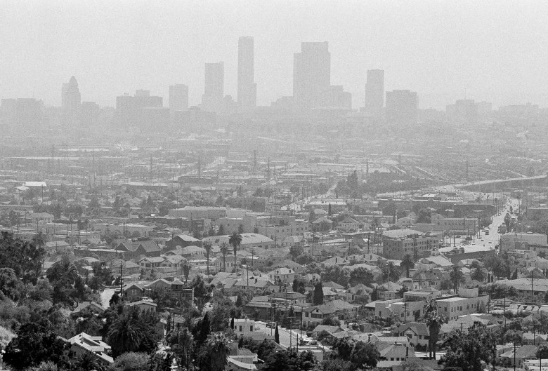 A pall of smog lies over the Los Angeles skyline, July 15, 1978. Air quality officials warned everyone to stay indoors as severely polluted air hung over much of Southern California. Photo by Nick Ut, AP Photo