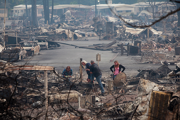 Salvage efforts are made in the ruins of the Journey's End mobile home park in Santa Rosa on Oct. 9, 2017. Photo by Karl Mondon, Bay Area News Group