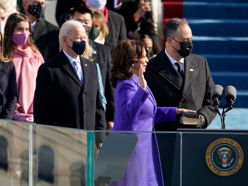 Californian Kamala Harris is sworn in as vice president by Supreme Court Justice Sonia Sotomayor as her husband Doug Emhoff holds the Bible during the 59th Presidential Inauguration at the U.S. Capitol in Washington on Jan. 20, 2021. Photo by Patrick Semansky, AP Photo/Pool