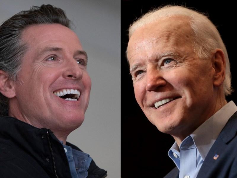Gov. Gavin Newsom; President-elect Joe Biden. Photos by Anne Wernikoff, CalMatters; Gage Skidmore via Flickr