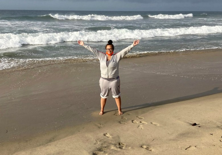 Keiana Aldrich at the beach after the motion for her resentence was granted and she was released in November. Photo courtesy of Maggy Krell