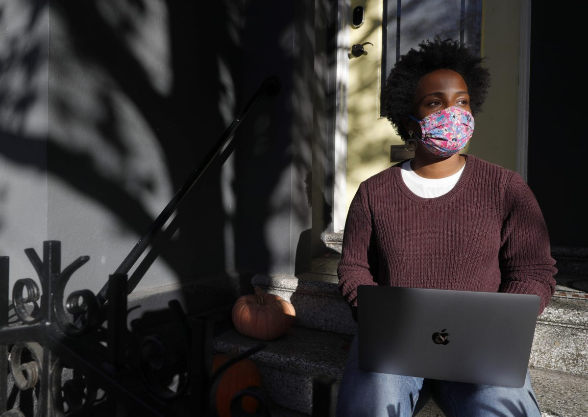 Penny Bailey, a technology recruiter for Figma, works from home in San Francisco, on Wednesday, Jan. 6, 2021. Photo by Jane Tyska, Bay Area News Group