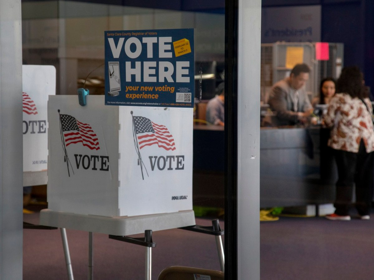 Voters cast early ballots, Saturday, Feb. 29, 2020, at the vote center inside the Martin Luther King Jr. Library in San Jose, Calif. Photo by Karl Mondon, Bay Area News Group