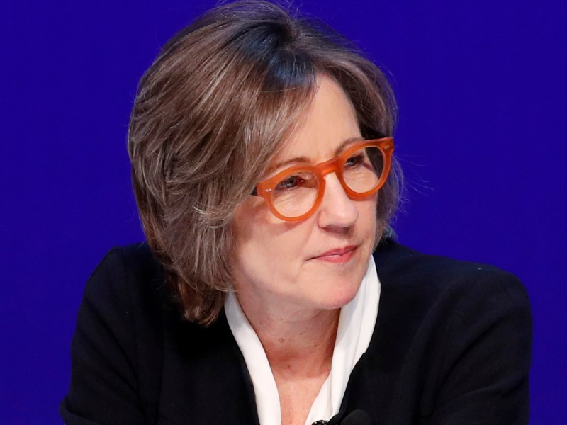 Dee Dee Myers speaks during a women's forum at the Wynn hotel and casino in Las Vegas on May 14, 2018. Myers, a former press secretary to President Bill Clinton, became a senior adviser to Gov. Gavin Newsom in December and director of the Governor's Office of Business and Economic Development. Photo by John Locher, AP Photo