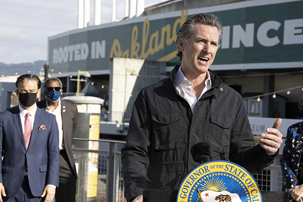 Gov. Gavin Newsom speaks during a press conference at Oakland Coliseum announcing a partnership with President Biden to open two new mass vaccination sites on Feb. 3, 2021. Photo courtesy of Governor's office