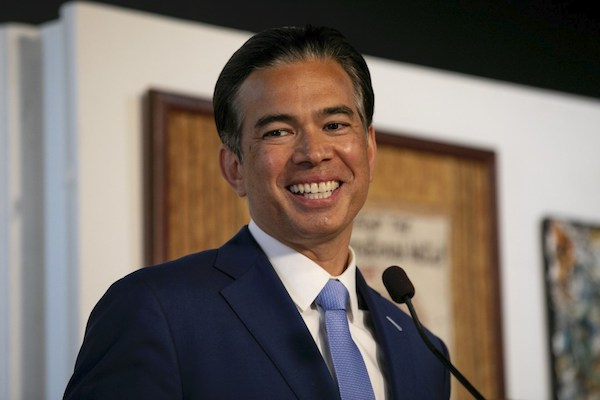 Assemblymember Rob Bonta speaks during a press conference announcing his nomination as the new Attorney General at International Hotel Manilatown center in San Francisco on March 24, 2021. Photo by Anne Wernikoff, CalMatters