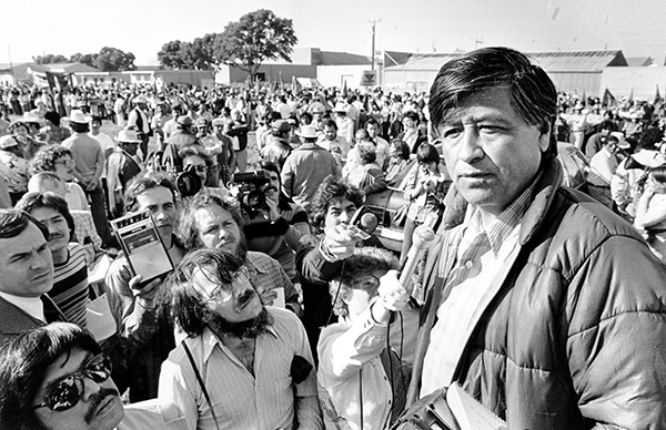 In this March 7, 1979, file photo, United Farm Workers President Cesar Chavez talks to striking Salinas Valley farmworkers during a large rally in Salinas. Photo by Paul Sakuma, AP File Photo