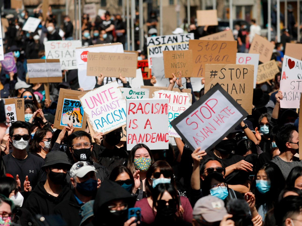 "Demonstrators attend the ""#StopAsianHate Community Rally"" at San Jose City Hall Plaza in downtown San Jose on March 21, 2021. Recent incidents have prompted California lawmakers to urge an expansion of Californias hate crimes laws. Photo by Nhat V. Meyer, Bay Area News Group"