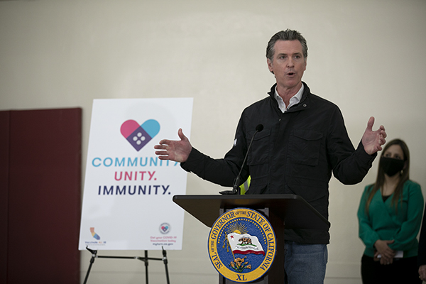 Gov. Gavin Newsom speaks at a press conference following a tour of a vaccination site at Our Lady of the Rosary Church in Union City on April 15, 2021. Photo by Anne Wernikoff, CalMatters