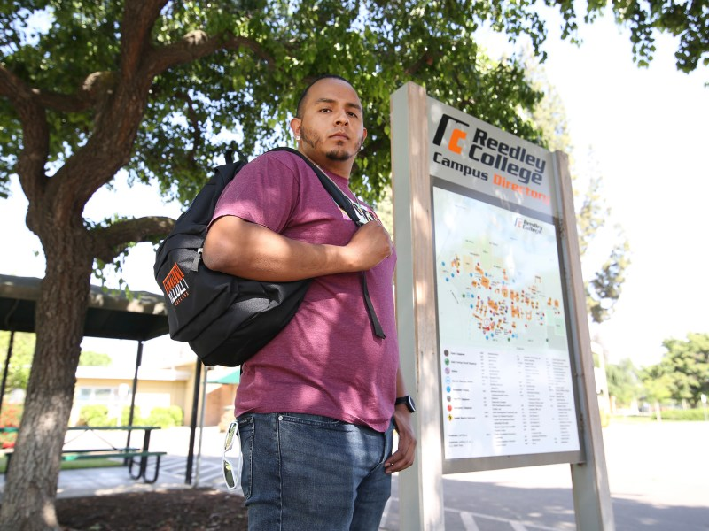 Stephen Kodur, a student at Reedley College, was denied a Cal Grant due to time-out-of-high-school restrictions. Photo by Gary Kazanjian for CalMatters