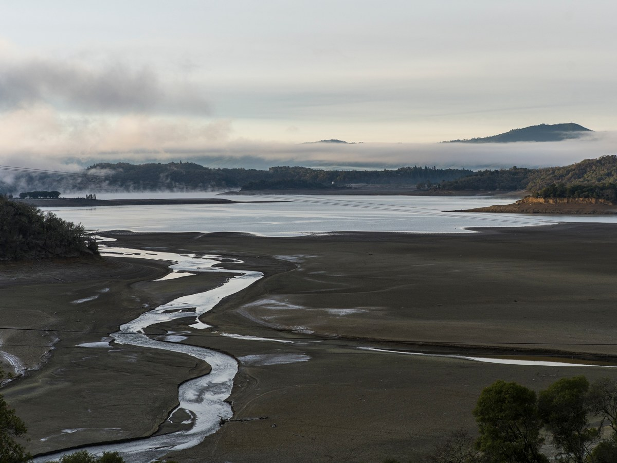 Lake Mendocino, a reservoir serving the region, is largely dried up due to drought conditions. Photo by Bobby Cochran Photography courtesy of Russian River Flood Control, & Water Conservation Improvement District