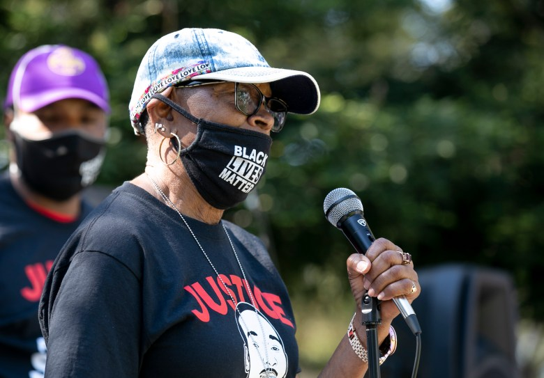 Addie Kitchen, Steven Taylor's grandmother, briefly speaks to the crowd at a celebration of life held for Taylor on the one-year anniversary of his death, at the San Leandro Marino on April 18, 2021. Photo by Anne Wernikoff, CalMatters