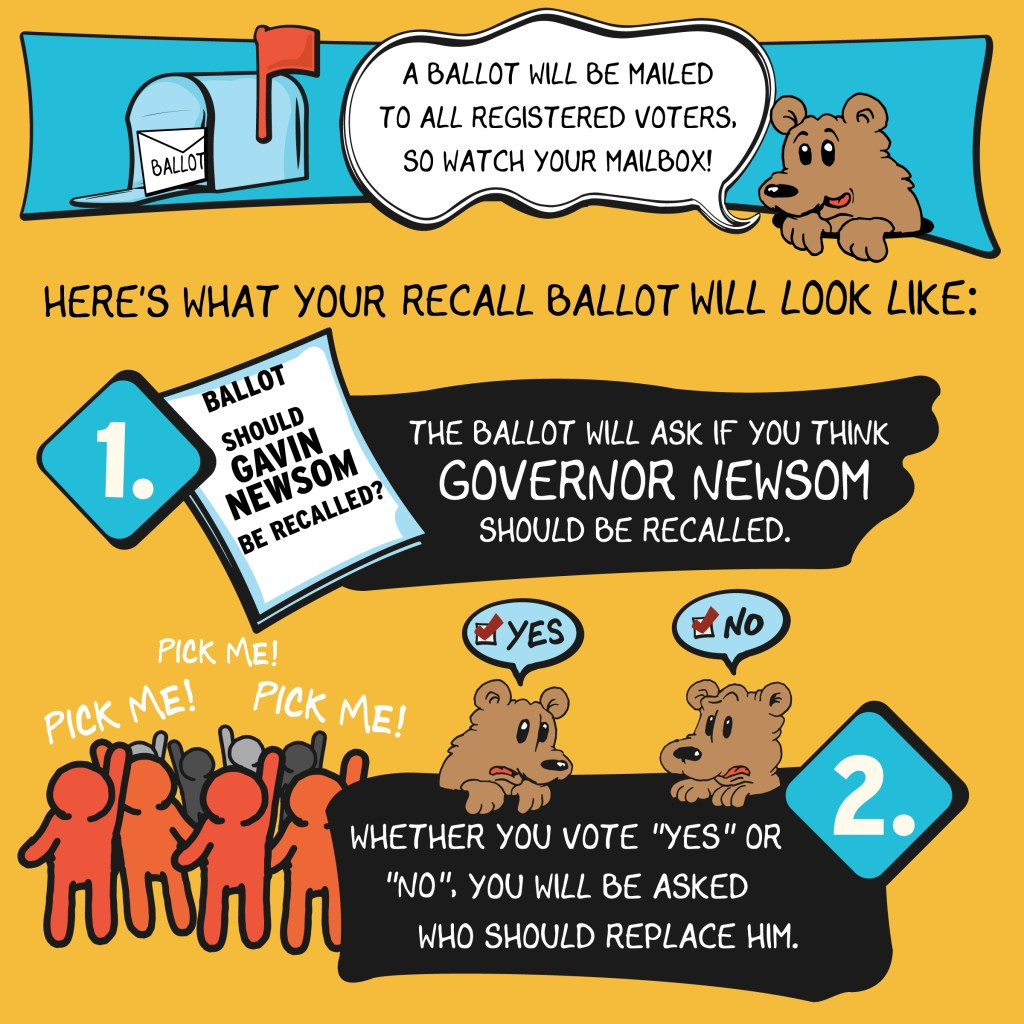 The recall election will be all done by mail, and voters will first decide whether to recall Gavin Newsom and then decide who should replace him if the recall succeeds