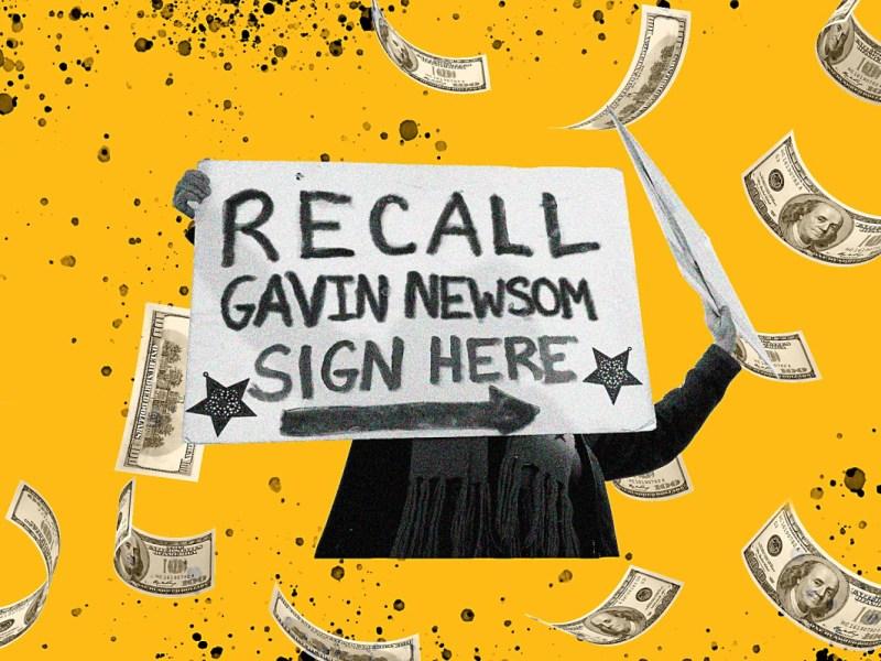 A medida que la campaña para destituir al gobernador Gavin Newsom se pone en marcha, los partidarios de la destitución han recolectado más donaciones, pero el gobernador está más dispuesto a gastar. Ilustración de Anne Wernikoff, CalMatters; iStock