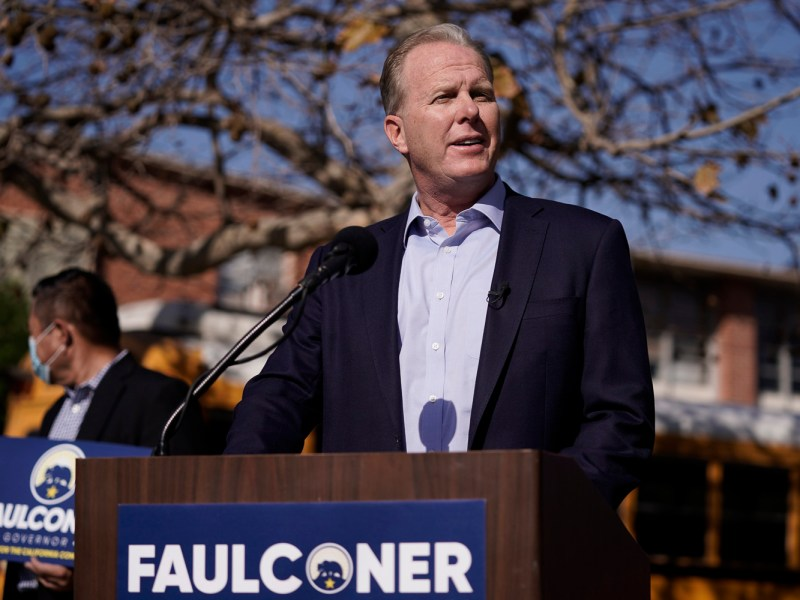 Republican gubernatorial candidate Kevin Faulconer speaks during a news conference in Los Angeles on Feb. 2, 2021. Six weeks after California officials announced that Democratic Gov. Gavin Newsom would face an almost certain recall election, the contest remains framed by uncertainty, even the date when it might take place is unclear. Photo by Jae C. Hong, AP Photo