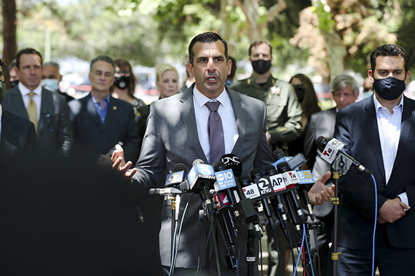 San Jose Mayor Sam Liccardo speaks during a press conference following a shooting at a VTA yard that resulted in nine deaths in San Jose on May, 26, 2021. Photo by Randy Vazquez, Bay Area News Group
