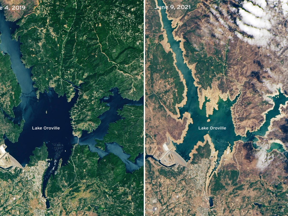 Satellite image shows how green and full Lake Oroville was in June 2019 and how shallow and dry it is in June 2021.