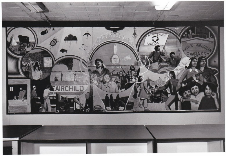 Archival image of a mural at D-Q University. Photo courtesy of Tribal College Journal