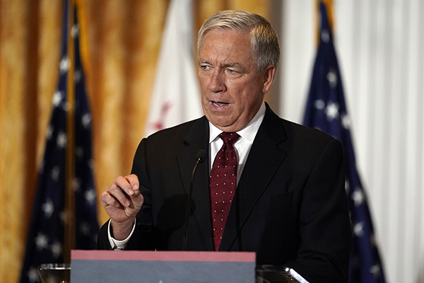 Republican candidate for Governor Doug Ose speaks during a debate at the Richard Nixon Presidential Library in Yorba Linda on Aug. 4, 2021. Former Republican congressman Doug Ose is ending his campaign for California governor after suffering a heart attack. Photo by Marcio Jose Sanchez, AP Photo