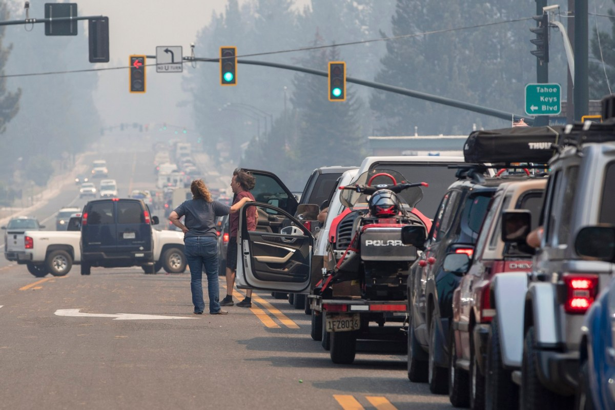 Gridlock on Highway 50 eastbound through South Lake Tahoe as the town goes under an evacuation order because of the Caldor Fire, on Aug. 30, 2021. Photo by Karl Mondon, Bay Area News Group