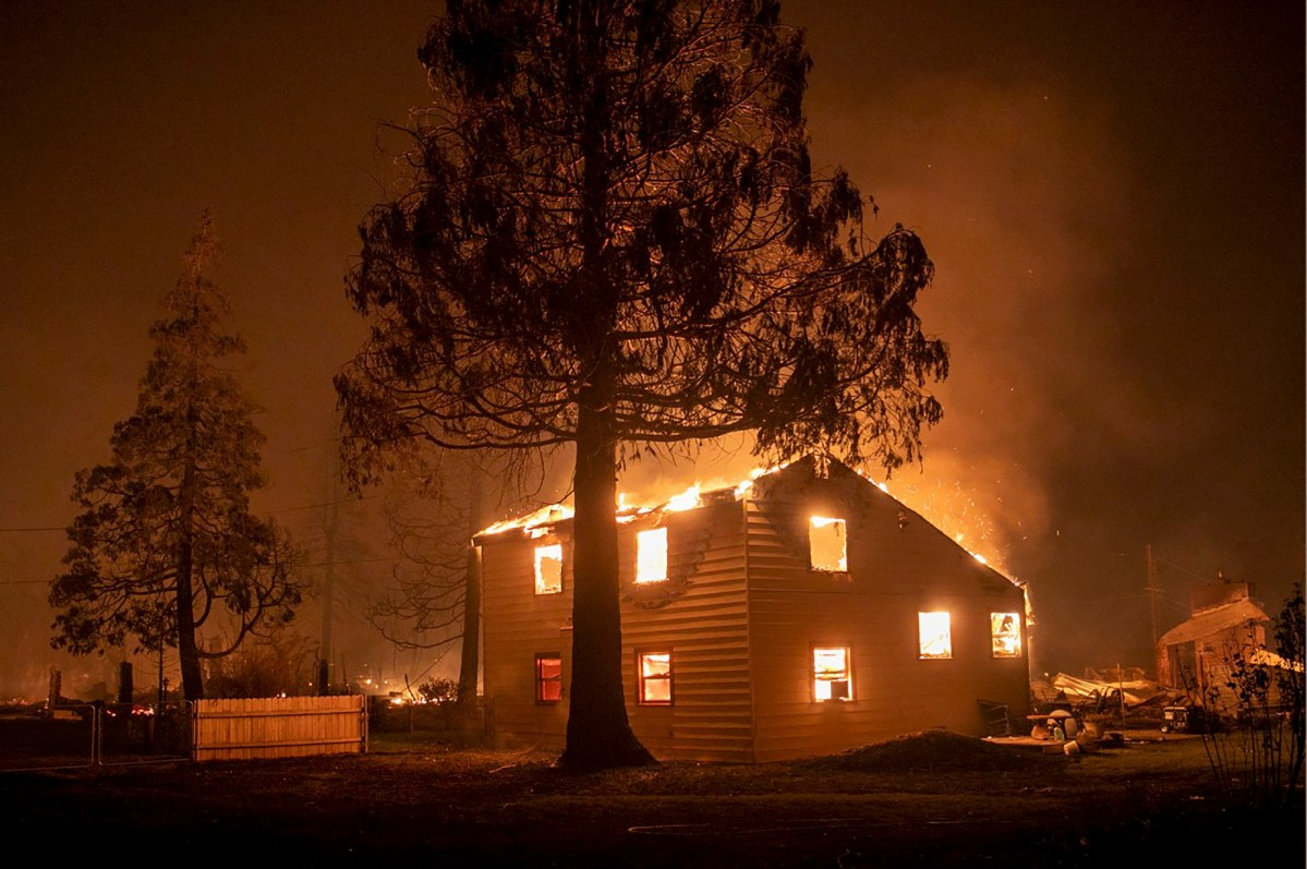 The Dixie Fire destroys a home in the Plumas County town of Greenville, Aug. 4, 2021. Photo by Karl Mondon, Bay Area News Group