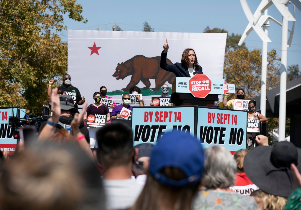 Vice President Kamala Harris speaks in support of Gov. Gavin Newsom during campaign event at the IBEW-NECA training center in San Leandro on Sept. 8, 2021. Newsom faces the recall election next week. Photo by Anne Wernikoff, CalMatters