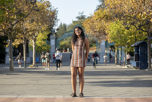 Fourth year student Riya Master stands near Sather Gate on Sept. 21. 2021 at UC Berkeley. Master, an out-of-state student, worries the new tuition hike for students coming from states other than California will be cost prohibitive. Photo by Anne Wernikoff, CalMatters